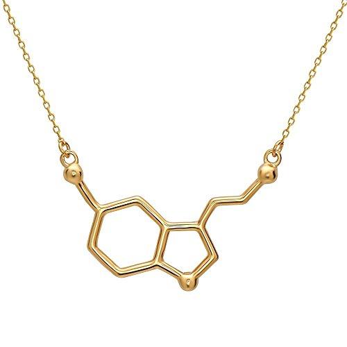 Serotonin Molekül Anhänger Halskette aus 925 Sterling Silber by Serebra Jewelry (Gold-Überzug)
