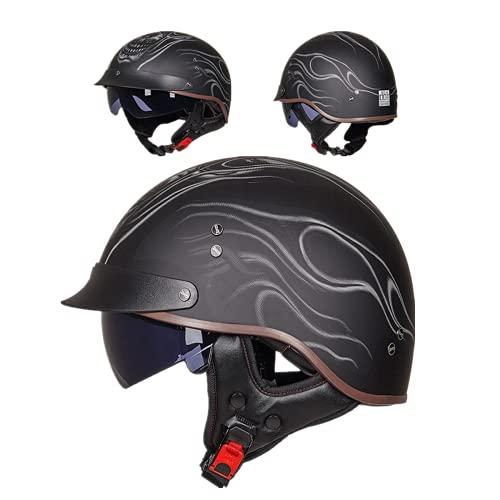ZHUANG Casco de moto con visera, certificado ECE/DOT, para hombre y mujer, estilo retro con visera integrada, para cruiser Chopper Biker (Flame Skull,M (57-58 cm)