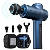 Roffie Massage Gun Muscle Neck Back Massager Deep Tissue Percussion Handheld Shoulder Massager Super Quiet Brushless Motor, 4 Massage Heads 3 Levels(Blue)