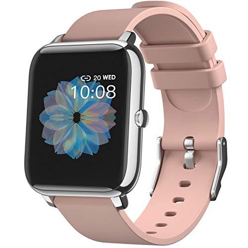 SmartWatch, Reloj Inteligente con Pantalla táctil IP68,Monitor de Sueño,Control de Musica,Pulsera Actividad Inteligente,Reloj Inteligente para Android e iOS (Rosa)