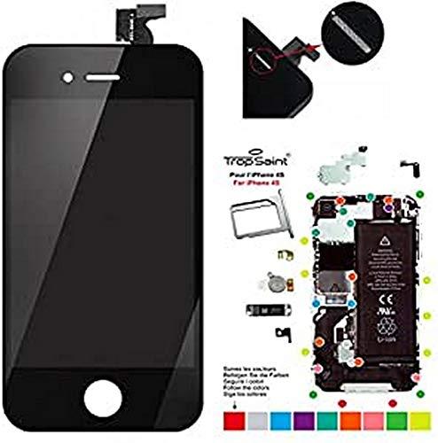 Trop SaintPantalla para el iPhone 4S LCD Negro de Recambio Completa Incluye Herramientas para el Montaje y Superficie de Trabajo Magnética