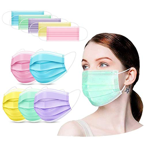 Sanhee Colored Disposable Face_Mask with Nose Wire, 3 Ply Breathable Comfortable Face Bandanas, Design Pink Purple Yellow Green Blue for Women Men Adult Youth, 100Pcs