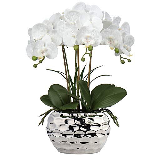 Orquídea artificial Phalaenopsis de 43 cm, flores decorativas de orquídea bonsái, flores falsas de seda con maceta de cerámica plateada para centros de mesa, sala de estar, decoración del hogar