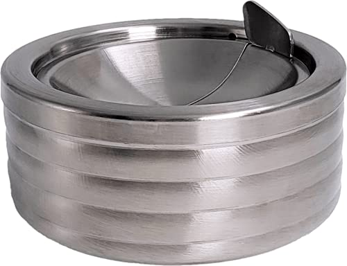 Grooved Silver Smokeless Classic Metal Ashtray with a Lid for Cigarettes - Windproof Ashtreys for Patio Outdoor Indoor Decorative Fancy Stainless...