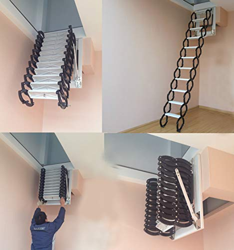 Wall-Mounted attic Telescopic Ladder Home loft Ladder Pull Down Folding Stairs with handrails 6.56ft-12.46ft (Carbon Steel 3.5-3.8M)