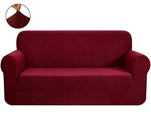 E EBETA Elastisch Sofa Überwürfe Sofabezug, Stretch Sofahusse Sofa Abdeckung Hussen für Sofa, Couch, Sessel 1 Sitzer (Weinrot, 185-235 cm)