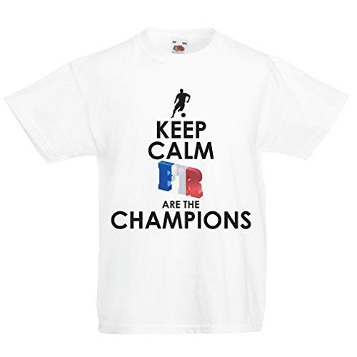Camiseta Niños/Niñas Los franceses Son los campeones: Campeonato de Rusia 2018, Equipo de fútbol de la Copa del Mundo, Camiseta de la afición de Francia (1-2 Years Blanco Multicolor)