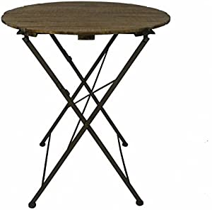 L' héritier del Tempo tavola rotonda carrello pieghevole Console Tavolino interno esterno guéridon in legno e ferro 70x 70x 80cm