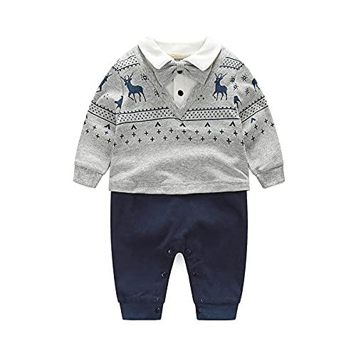 Psafagsa Baby Jungen Anzüge Säuglinge Gentleman Hochzeit Taufe festlicher Smoking Babybkleidung mit Fliege Grau und Navy 12-18 Monate