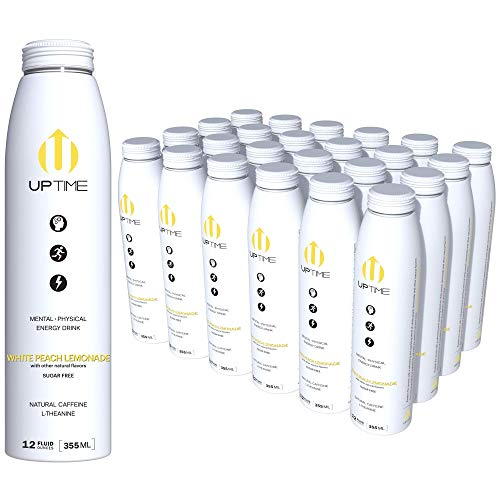 UPTIME - Premium Energy Drink, White Peach Lemonade - Sugar Free, 12oz Bottles, (Case of 24), Better for You, Natural Caffeine, Sparkling