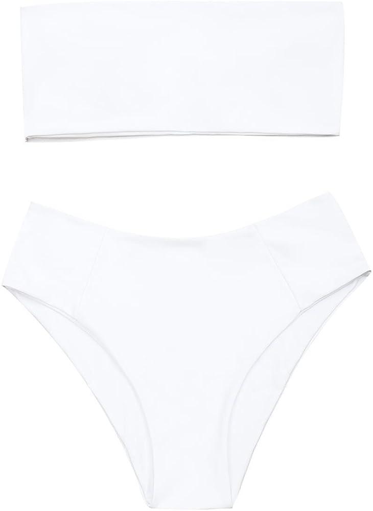 ZAFUL Women's Two-Piece Sexy Strapless Padded High Cut Bandeau Bathing Suit Swimwear