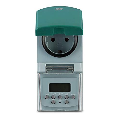 REV 0025750409 Zeitschaltuhr , digital, Zufallsfunktion, 20 Zeiten/Tag, 1800W, grün