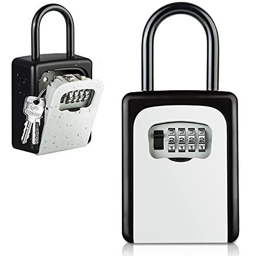 Diyife Schlüsselbox mit Bügel, [Upgrade] [Wandmontage] Schlüsseltresor für Aussen & Innen, Wetterfest Kombinationsschlüssel mit 4-stelligem Zahlencode, für Haus, Garagen, Schule Ersatz Haus Schlüssel
