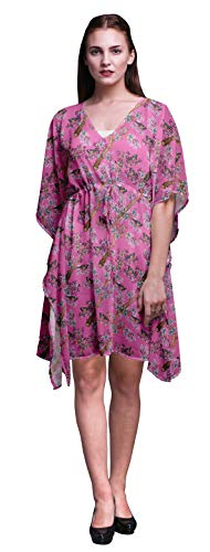 Bimba Light Pink4 Bird Blue Floral & American Robin Beach Kaftan Bikini Cover up Womens Midi Dress Short Caftan-S-L