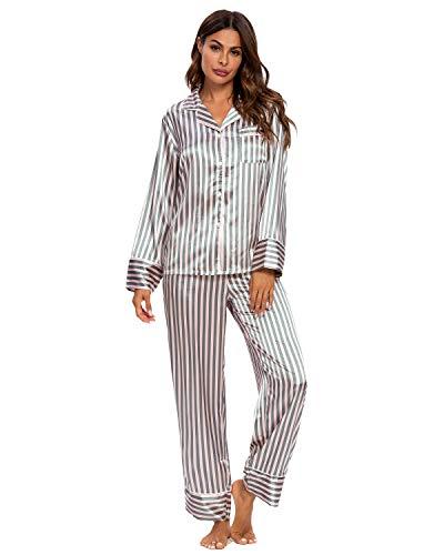 GOSO Damen Pyjamas Set-Satin Pyjamas Damen Button Down Pjs Langarm Top und Hosen Nachtwäsche Lady Nachtwäsche Weiche Sets