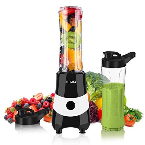 Smoothie Blender for Shakes and Smoothies Fruit Vegetable Drink,imurz 300W Powerful Mini Personal Smoothie Maker with 1 x 20oz BPA Free Portable Sports Bottles - Black