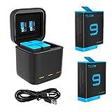 TELESIN Paquete de 2 baterías y cargador rápido de batería USB de 3 canales con cable tipo C para GoPro Hero 9 negro, totalmente compatible con cargador original Go Pro 9 y baterías