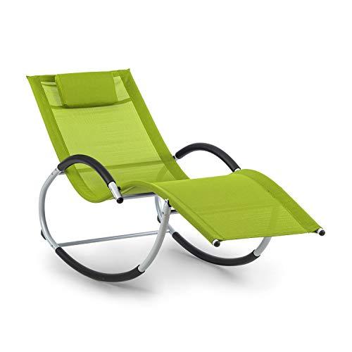 blumfeldt Westwood Rocking Chair Schaukelliege - ergonomisch geformt, Material: Comfort Mesh 70% PVC + 30% Polyester, Ergo Comfort, Gestell aus Aluminium, inklusive Kopfkissen, grün