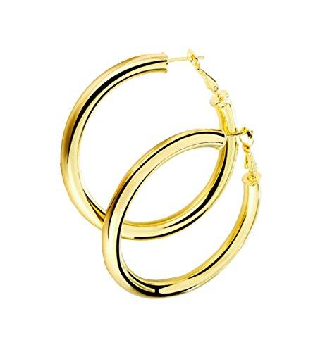 STAYJOY 18K Gold Polished Fashion High-Profile Hoop Earrings with Omega Backs (Large)