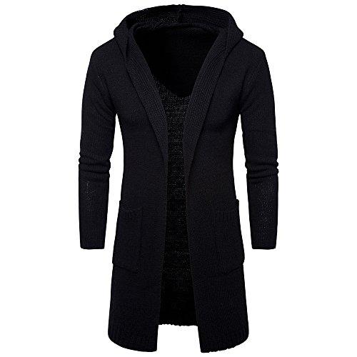 VEMOW Herbst Winter Herren Jacke, Männer Casual Slim Fit Mit Kapuze Stricken Pullover Fashion Daily Sport Cardigan Lange Trenchcoat(Schwarz, 44 DE/M CN)