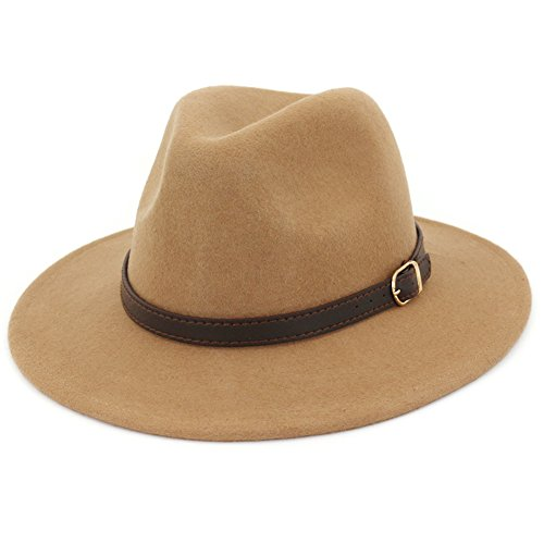 Lisianthus Women's 100% Wool Fedora Panama Hat Wide Brim with Belt Khaki