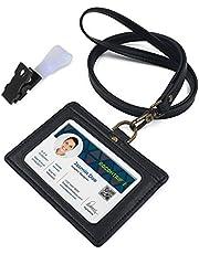 ネームホルダー PU革 IDカードホルダー リール付き 両面用 縦型 社員証・名札・定期入れ・パスケース ネックストラップ 2ポケット