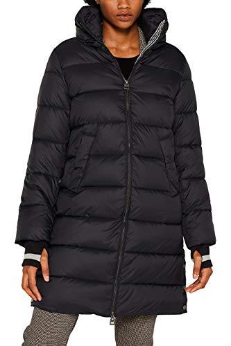 ESPRIT Damen 099Ee1G026 Mantel, Schwarz (Black 001), Large (Herstellergröße: L)