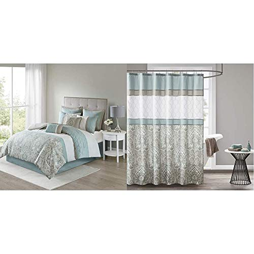 510 DESIGN Shawneel 8 Piece Bedding Comforter Set for Bedroom, Queen Size, Seafoam & Shawnee Printed and Embroidered Shower Curtain with Liner Blue 72x72