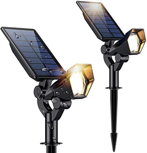 RUNACC Solar Spot Lights Outdoor IP67 Waterproof Adjustable 2-in-1 Wireless Solar Powered LED Wall & Landscape Lights for Yard Garden Driveway Walkway - 2 Pack Warm White