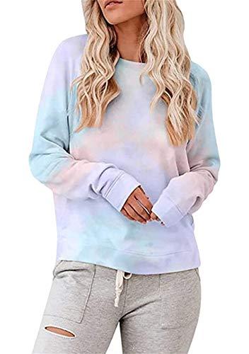 EFOFEI Sudadera para mujer Tie-Dye sin tirantes, de arcoíris, camiseta de manga larga con tinta casual. H-rosa + lila. M