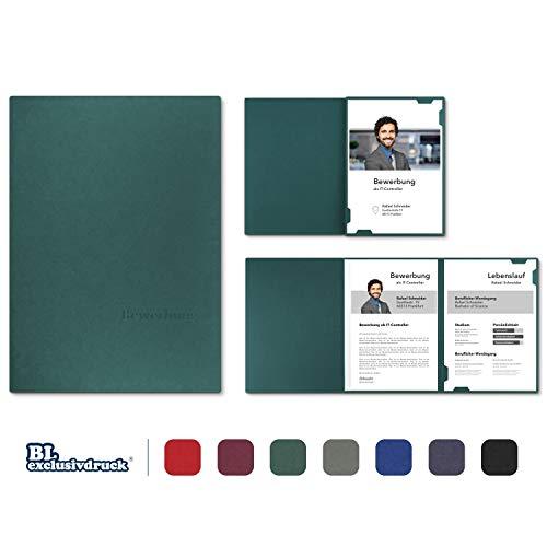 5 Stück 3-teilige Bewerbungsmappen BL-exclusivdruck® EASY in Tannengrün - Premium-Qualität mit edler Relief-Prägung 'Bewerbung' - Produkt-Design von 'Mario Lemani'