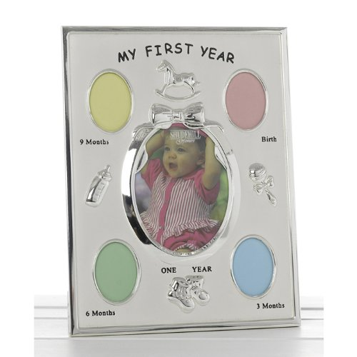 Joe Davis Babies First year 5 Photo, Ages, Silver Picture Frame Collage...