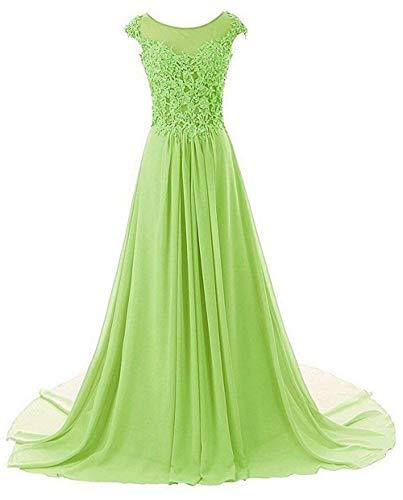 Abendkleider Ballkleider Brautjungfernkleid Hochzeitskleider Lang Chiffon A Linie Lindgrün EUR50