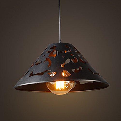ZSSHJ JAZS® loft Industrial Wind lustres, Restaurant Bar Hollow Couvercle Retro Nostalgia Sand Magasin de Peinture Noire Lampes en Fer La simplicité créative de Luxe. (Taille : 55 * 30cm)