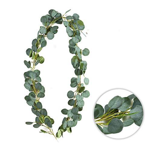 Deruxan Eukalyptus Girlande Künstlich Pflanze, Eukalyptus Blätter Deko Girlande Hochzeit Eukalyptus Kranz Kunstpflanze Urlaub Hochzeit Home Dekoration Zubehör