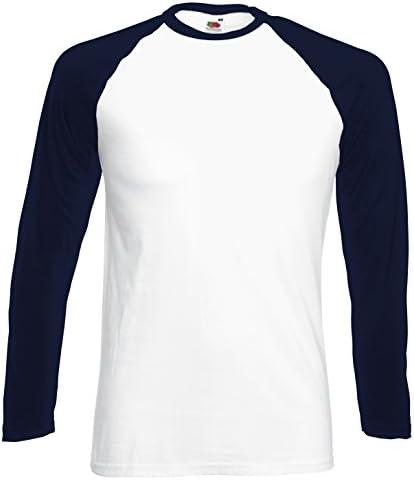 Fruit of the Loom Camiseta Béisbol Manga Larga para Hombre Blanco/Azul Marino