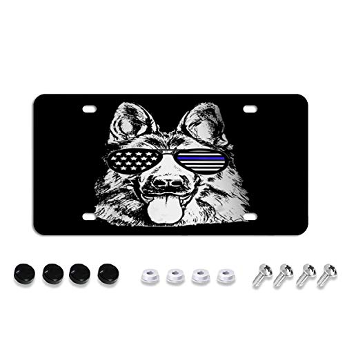 K9 Police Officer Dog Thin Blue Line License Plate Cover Frame Tinted Novelty Unbreakable Car Tag Protector for US Plate, with Stainless Steel Screws Caps, Rattle Proof Pads