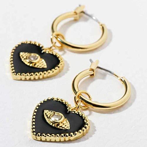 TGHYB Pendientes colgantes y colgantes para mujer, estilo vintage, con diamantes de imitación, color negro, con forma de corazón, redondos, para hombres, mujeres y niñas.