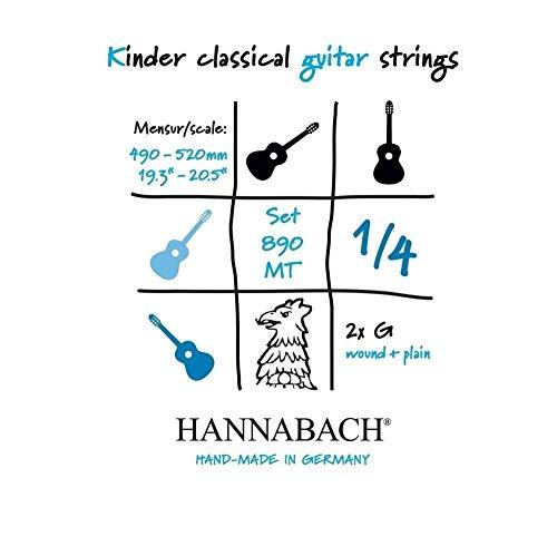Hannabach 653069 Klassikgitarrensaiten Serie 890 1/4 Kindergitarre Mensur: 49-52cm - Satz