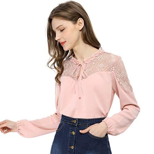 Allegra K Damen Langarm V Neck Panel Spitze Chiffon Top Bluse Rosa XL (EU 48)