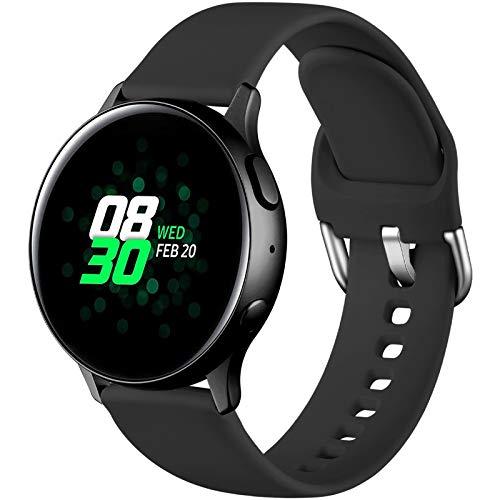 Dirrelo Deportiva Correa Compatible con Samsung Galaxy Watch Active/Active 2 40mm/44mm, Reemplazo de Silicona para Galaxy Watch 42mm/Gear Sport/Gear S2 Classic para Mujeres y Hombres, Negro S