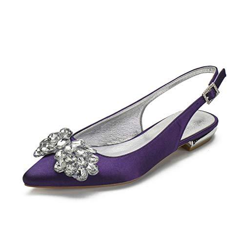 SDJQZ Zapatos de boda para mujer, tacón plano, punta puntiaguda, clásico, dulce,...