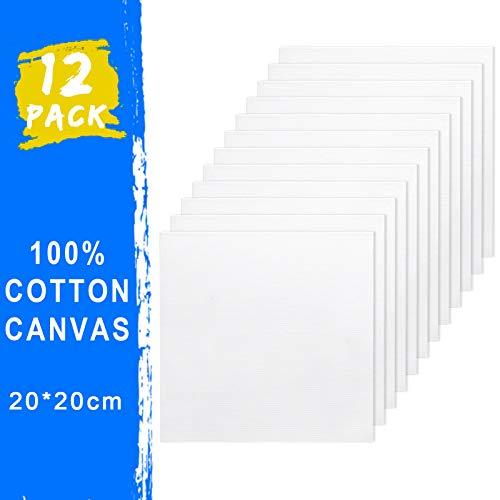 Joyibay 20 x 20 cm kanvaspaneler paket, 12 st gör-det-själv blank målning canvas panelbrädor, 100 % bomull, grundade kanvaspaneler konstnär kanvasskiva för hobbymålare, studenter och barn
