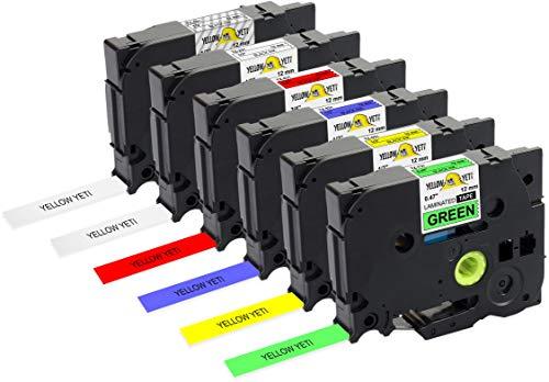 Yellow Yeti 6 Cassette Nastri Laminati TZe-131 TZe-231 TZe-431 TZe-531 TZe-631 TZe-731 12mm x 8m Etichette compatibili per Etichettatrici Brother P-Touch PT-1000 H100R H100LB H107B H110 D400 D600VP