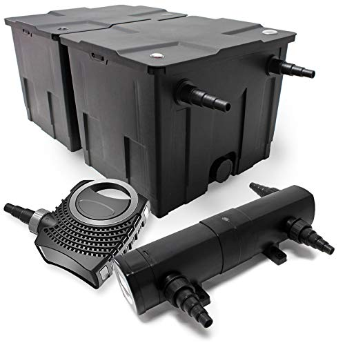 Kit de Filtration Bassin Bio Filtre 60000l 80W Pompe éco Stérilisateur UVC 18W