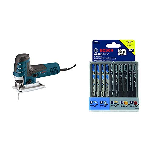 Bosch 7.0 Amp Corded Variable Speed Barrel-Grip Jig Saw JS470EB with Carrying Case with Bosch 10-Piece Assorted T-Shank Jig Saw Blade Set T5002