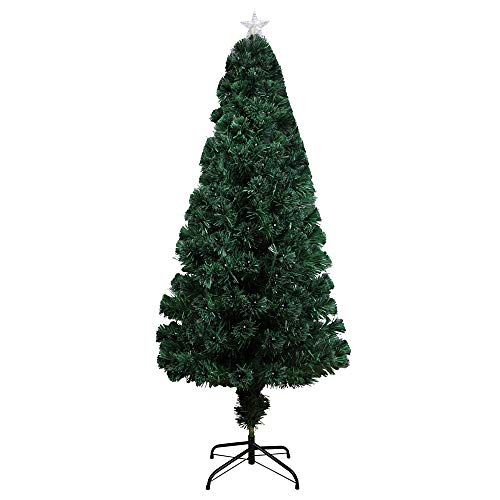 Homegear Artificial Pre-Lit Fiber-Optic Christmas Tree 6ft with 235 Color Lights and Star