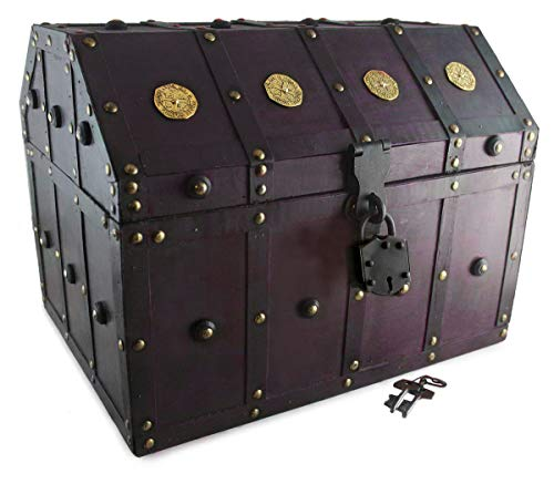 Well Pack Box Treasure Chest Pirate 16x 12x 12 Lock Skeleton Keys Doubloon Accents in Antique Cherry Stain (Extra Large)