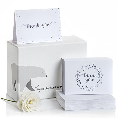 100 Thank You Cards w/Self-Sticking Envelopes - Thank You Notes of Paper - Blank Inside/Back - Perfect for Any Occasion - 5x3.5 Inches - Comes in Box
