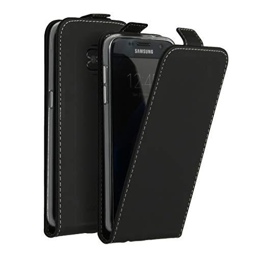 Accezz kompatibel mit Samsung Galaxy S7 Hülle – Flip Case Tasche – Handytasche zum Aufklappen in Schwarz [1 Kartenfach, Magnetverschluss, Premium Kunstleder]